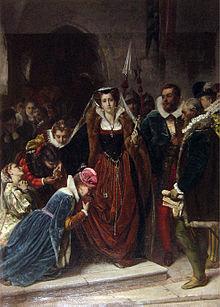 Maria Stuarda si avvia al patibolo. Dipinto di Scipione Vannutelli (1861)