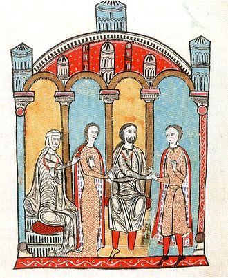 Liber feudorum maior - Ermengard of Carcassonne, standing between her mother, Cecilia of Provence, and her father, Bernard Ato IV of Nîmes, is being betrothed to Gausfred III of Roussillon.