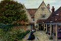 Marie Spartali Stillman - Feeding The Doves At Kelmscott Manor, Oxfordshire.jpg