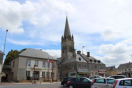 The town hall and church in Marigny