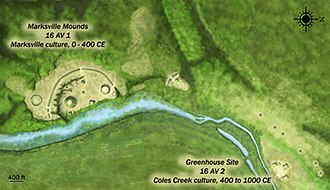 Marksville Prehistoric Indian Site - Artists conception of the site layout.