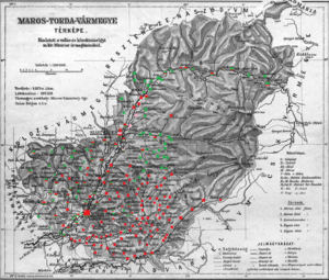 Maros-Torda County - Ethnic map of the county with data of the 1910 census (see the key in the description)