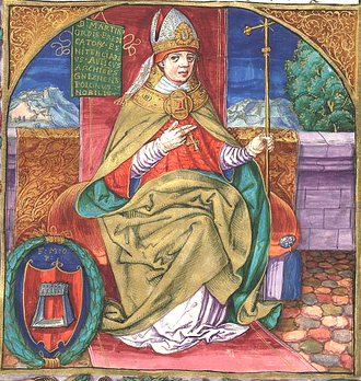 Martin of Opava - Martin of Opava, O.P., depicted as the  Archbishop of Gniezno, (in an illuminated manuscript from sometime before 1535)
