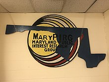 Logo sign hung in MaryPIRG office at University of Maryland, College Park.