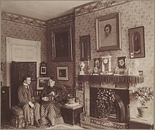 The Interior Of Mary Ann Hammonds Residence At 72 Beacon Street Shows Her Seated With Charles Hammond Gibso And Cat Topsy In A Richly Decorated Room