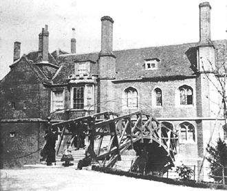 Mathematical Bridge - The Mathematical Bridge (approx. 1865) pictured shortly before it was partially rebuilt in 1866.