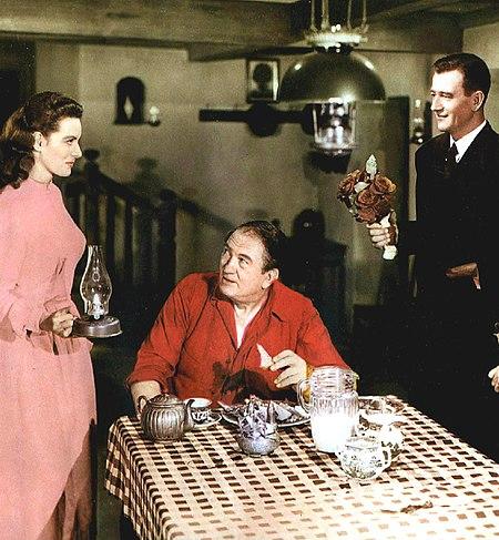 Maureen O'Hara Victor McLaglen John Wayne from lobby card 1.jpg