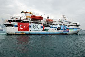 2010 in Israel - Gaza flotilla raid – photo of the MV Mavi Marmara on which the violent clash erupted.