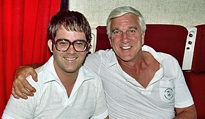 Max Allan Collins - Collins with Leslie Nielsen in 1982