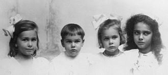 "Barbara McClintock - McClintock children, from left to right: Mignon, Malcolm Rider ""Tom"", Barbara and Marjorie"