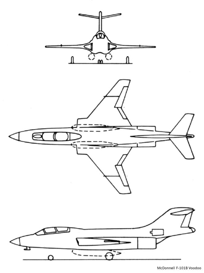 McDonnell F-101B 3side drawing