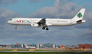 Airbus A321-200 lands at London Heathrow Airport