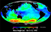 A map of mean wave height for the period Oct. 3-12, 1992. NASA.