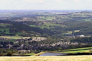 Holme Valley - Lower end of the Holme Valley, looking north from Meltham across Netherton and Crosland Moor to Huddersfield and beyond towards Dewsbury