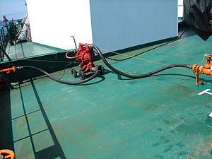 Diaphragm pump - Image: Membrane pump on oil tanker deck