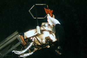 "HIStory: Past, Present and Future, Book I - Jackson performing ""Earth Song"" on June 20, 1997, in Lausanne during the HIStory World Tour. During the performance Jackson was dangled from the edge of a crane."