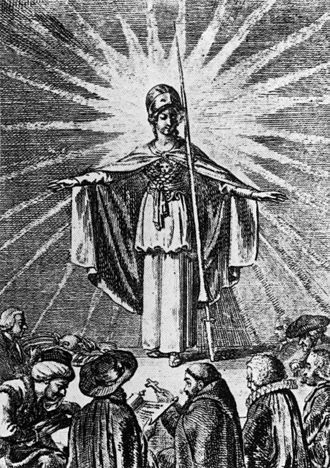 Toleration - Minerva as a symbol of enlightened wisdom protects the believers of all religions (Daniel Chodowiecki, 1791)