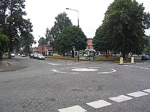 Mini roundabout and shops - geograph.org.uk - 49562.jpg