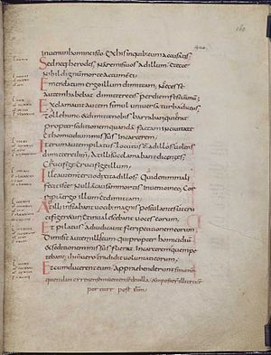 Carolingian minuscule - Page of text (folio 160v) from a Carolingian Gospel Book (British Library, MS Add. 11848), written in Carolingian minuscule. Text is Vulgate Luke 23:15-26.