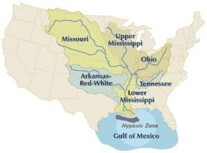 Drainage basin - The Mississippi River drains the largest area of any U.S. river, much of it agricultural regions. Agricultural runoff and other water pollution that flows to the outlet is the cause of the hypoxic, or dead zone in the Gulf of Mexico.