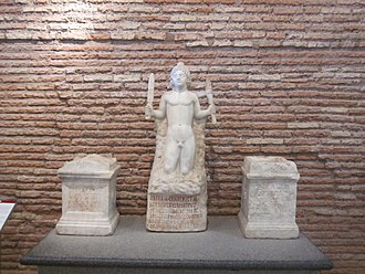 Mithraism - Rock-born Mithras and Mithraic artifacts (Baths of Diocletian, Rome)