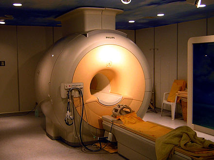 The largest single use of liquid helium is to cool the superconducting magnets in modern MRI scanners. Modern 3T MRI.JPG
