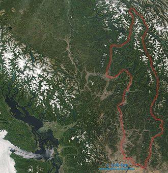Monashee Mountains - Monashee Mountains are indicated. In the left of the image lies Vancouver Island.  The boundary here includes the Okanagan Highland and portions of the Shuswap Highland.