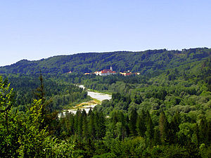 Schäftlarn Abbey - View of Schäftlarn Abbey with the River Isar from Strasslach