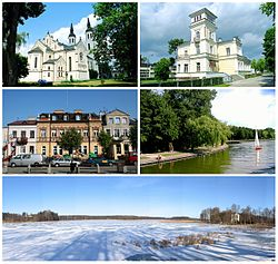Top left: Augustów Basilica of Jesus in Skorupki; Top right: Former Water Management Authority's office (Budynek Zarzadu Wodnego); Middle left: An ancient house in Augustów Market Square; Middle right: Netta Nature Park and Augstow Canal; Bottom: Icy season in Studzieniczne Lake
