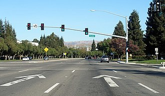 Lane - Thru lanes indicated by arrows on California CR G4 (Montague Expressway) in Silicon Valley.