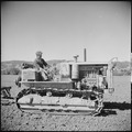 Monterey County, California. Rural youth. Mechanization, the agricultural employee. leveling a field with a... - NARA - 532174.tif