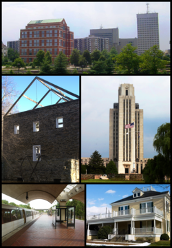 Clockwise from top: Downtown Rockville in 2001, National Naval Medical Center in 2003, the Gaithersburg city hall in 2007, Shady Grove metro station in 2004, and the Black Rock Mill in 2006.