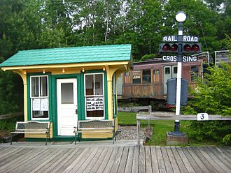 Cumberland, Maine - The former Morrrison Hill station of the Portland-Lewiston Interurban, which served Cumberland from 1915 to 1933. The station is now located at Seashore Trolley Museum.