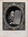Moses, with his rod and the table of the ten commandments. E Wellcome V0034276.jpg