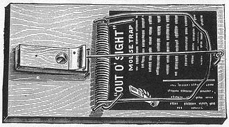 Mousetrap - 19th-century ad for a spring-loaded bar mousetrap of William Hooker's design