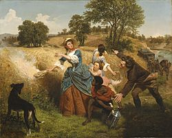 Emanuel Leutze: Mrs. Schuyler Burning Her Wheat Fields on the Approach of the British