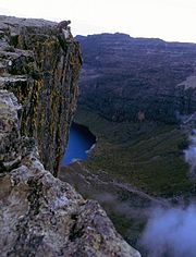 The Temple is a large overhanging buttress overlooking Lake Michaelson, close to Hall Tarns.