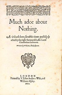 <i>Much Ado About Nothing</i> comedy play by William Shakespeare