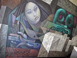 Presencia de América Latina - The sea woman and Tlaloc begin the story of the mural.