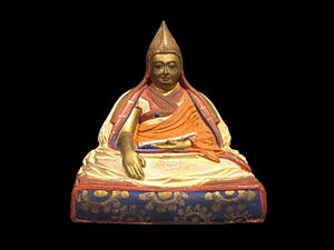 Buddhist ethics - Statue portrait of 5th Dalai Lama who waged wars against Bhutan and Ladak.