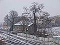 Nádraží Praha-Dejvice, stará budova, ze Svatovítského mostu.jpg