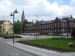 Masaryk Square and the town hall in Nový Bohumín