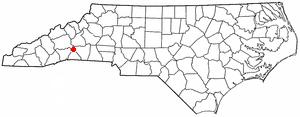 Chimney Rock, North Carolina - Image: NC Map doton Chimney Rock