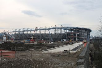 Rotherham United F.C. - New York Stadium in mid-construction (4 Feb 2012).