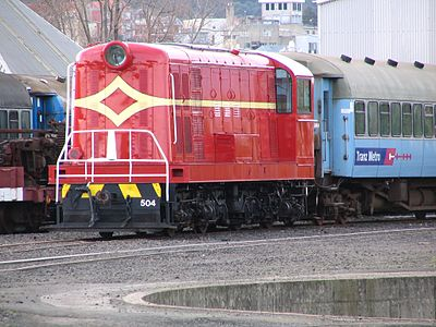 A DE class locomotive, the first diesel-electric locomotives introduced by NZR. NZR Class DE 504.JPG
