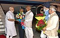 Narendra Modi being welcomed by the Governor of Punjab and Haryana and Administrator, Union Territory, Chandigarh, Prof. Kaptan Singh Solanki, the Chief Minister of Punjab.jpg