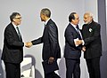 Narendra Modi with the President of United States of America (USA), Mr. Barack Obama, the President of France, Mr. Francois Hollande and Mr. Bill Gates at the Innovation Summit in COP 21, in Paris, France.jpg