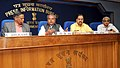 Narendra Singh Tomar addressing a Press Conference on announcement of National Geoscience Awards 2013, in New Delhi. The Secretary, Ministry of Mines, Dr. Anup K. Pujari and Director General (M&C), Press Information Bureau.jpg