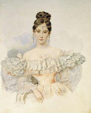 Ferronnière - Portrait of Natalia Pushkina by Alexander Brullov, 1831-2