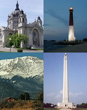 National Register of Historic Places property types - Clockwise from bottom left: a site, a building, a structure and an object. All are examples of National Register of Historic Places property types.